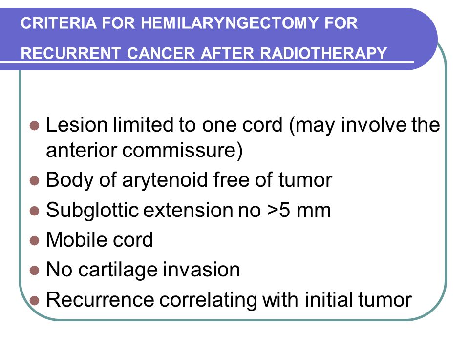 CRITERIA FOR HEMILARYNGECTOMY FOR RECURRENT CANCER AFTER RADIOTHERAPY