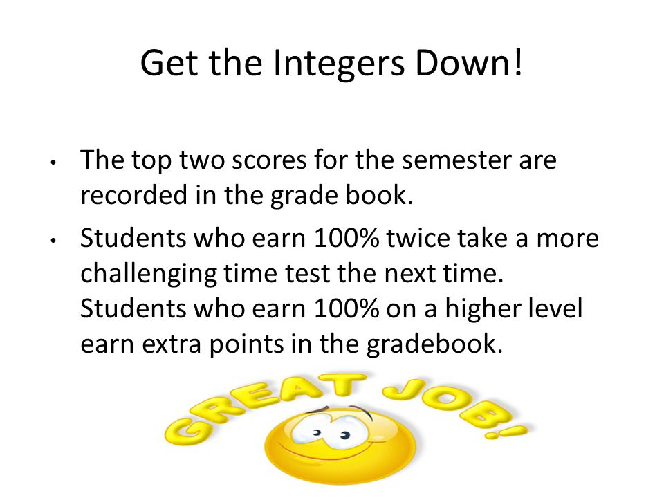 Get the Integers Down! The top two scores for the semester are recorded in the grade book.