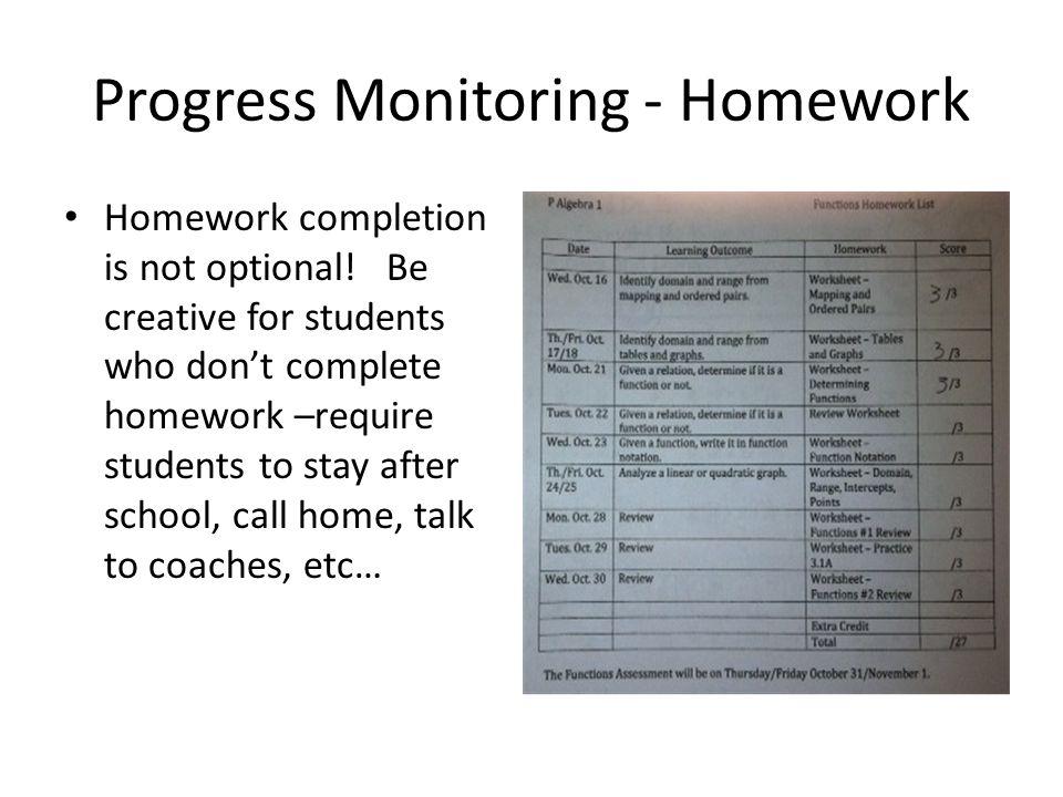 Progress Monitoring - Homework