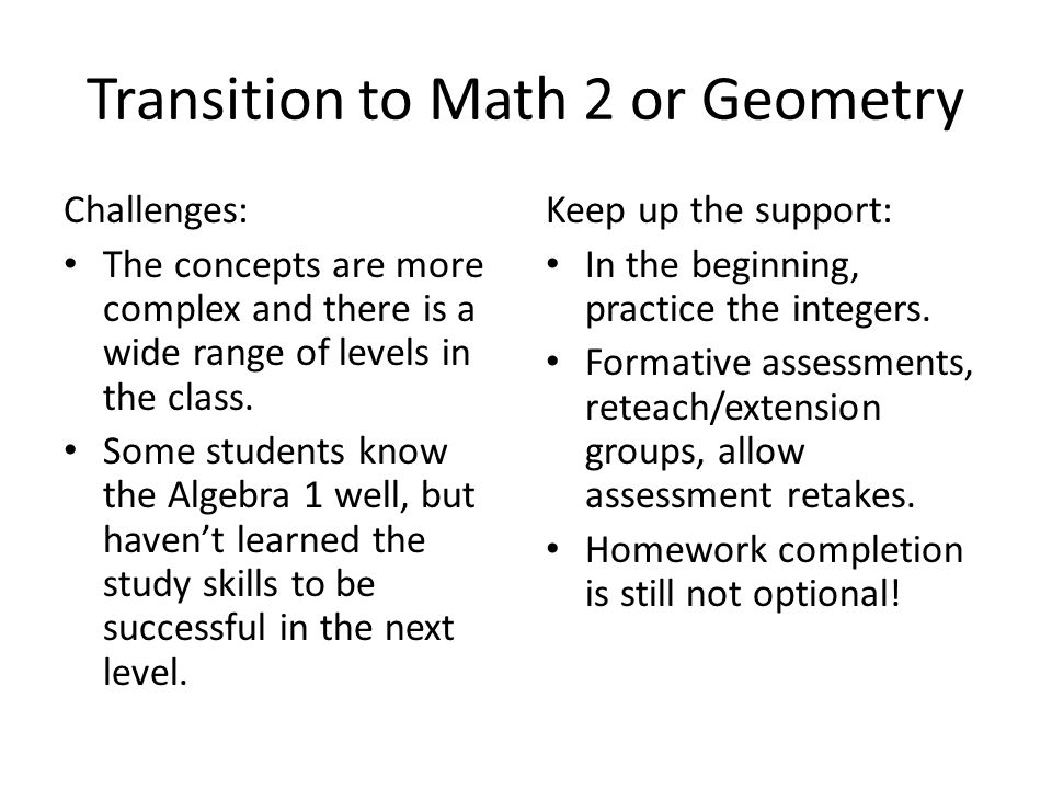 Transition to Math 2 or Geometry