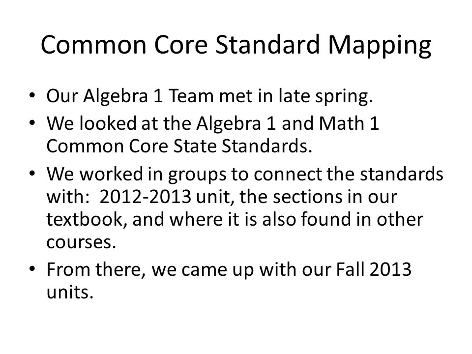 Common Core Standard Mapping