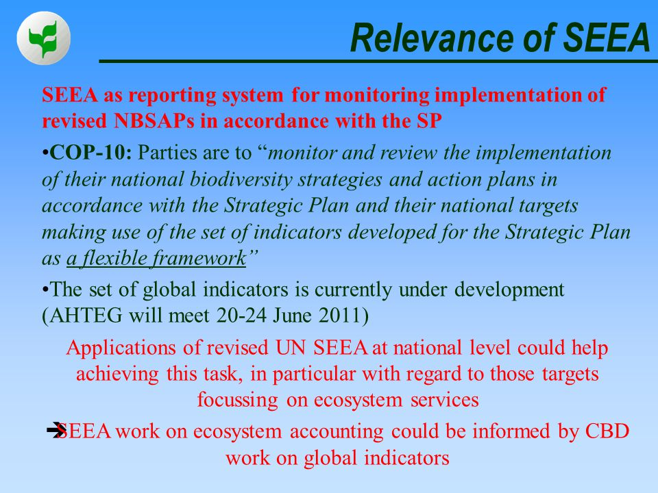 Relevance of SEEA SEEA as reporting system for monitoring implementation of revised NBSAPs in accordance with the SP.