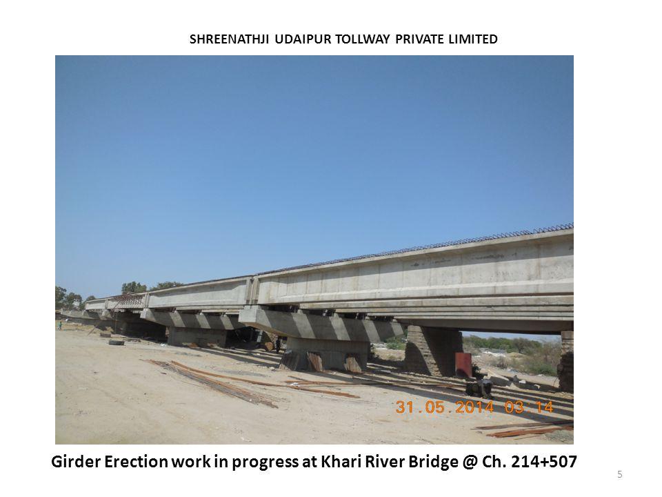 Girder Erection work in progress at Khari River Bridge @ Ch. 214+507