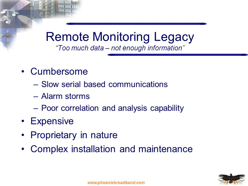 Remote Monitoring Legacy Too much data – not enough information