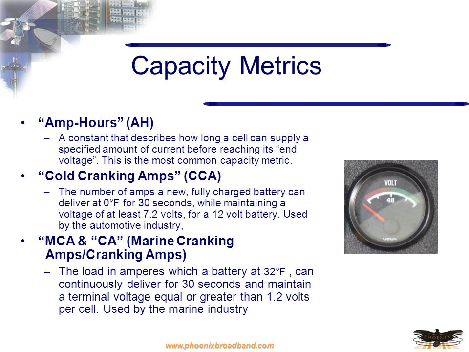 Capacity Metrics Amp-Hours (AH) Cold Cranking Amps (CCA)