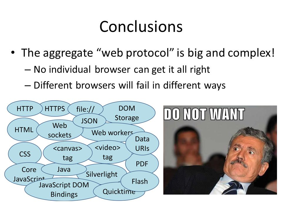 Conclusions The aggregate web protocol is big and complex!