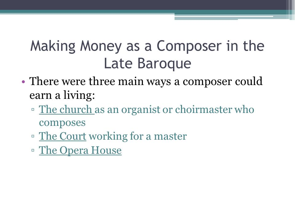 Making Money as a Composer in the Late Baroque