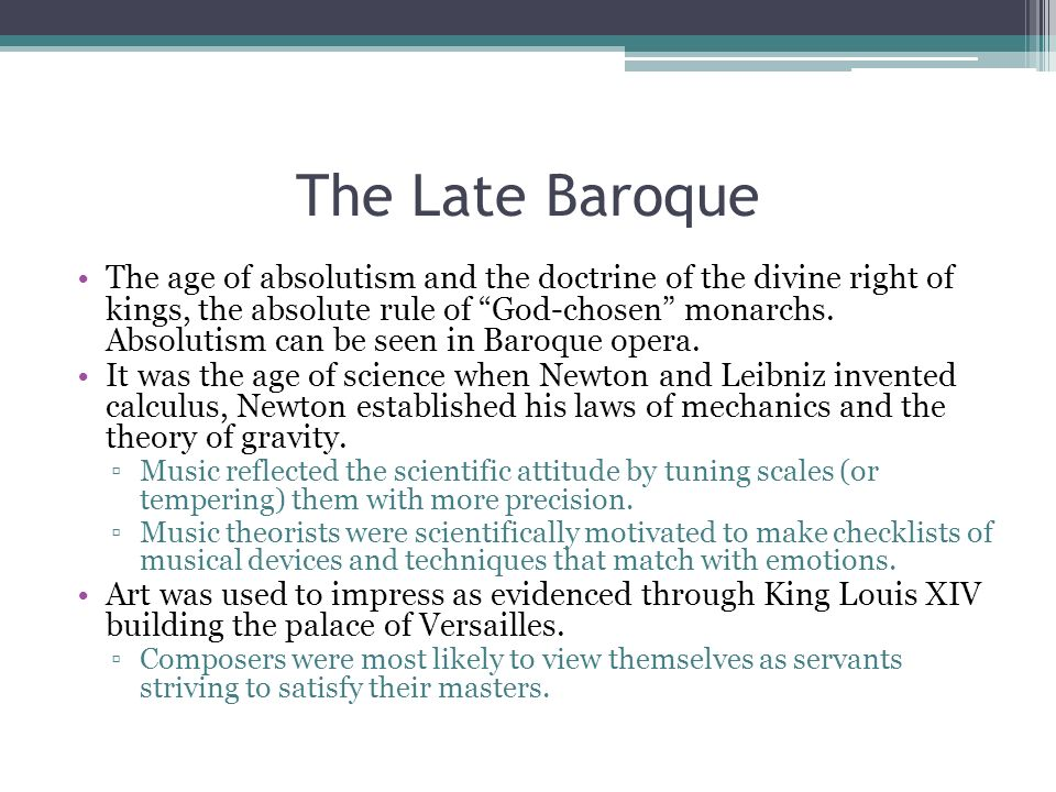 The Late Baroque