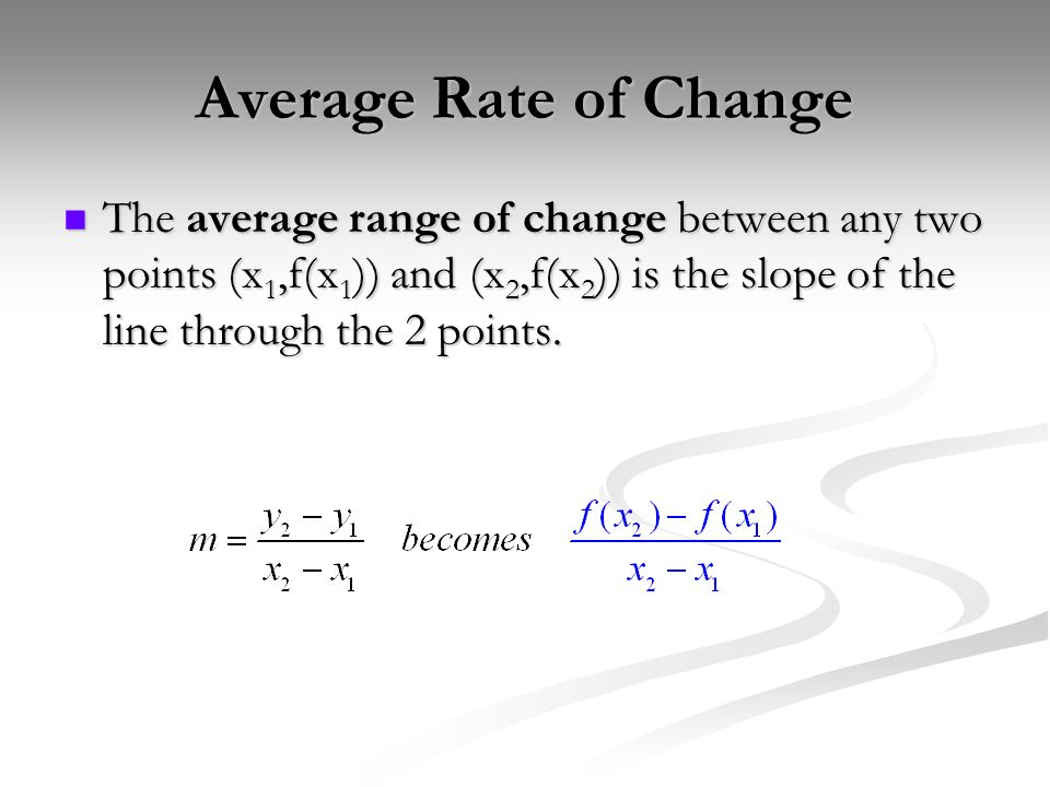 Average Rate of ChangeThe average range of change between any two points (x1,f(x1)) and (x2,f(x2)) is the slope of the line through the 2 points.