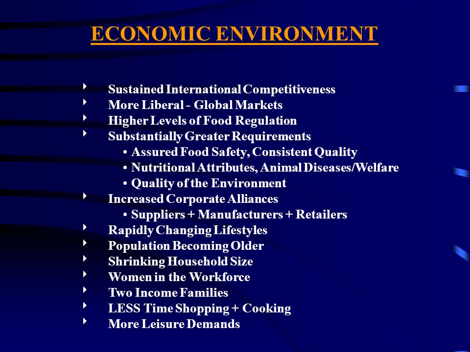 ECONOMIC ENVIRONMENT Sustained International Competitiveness