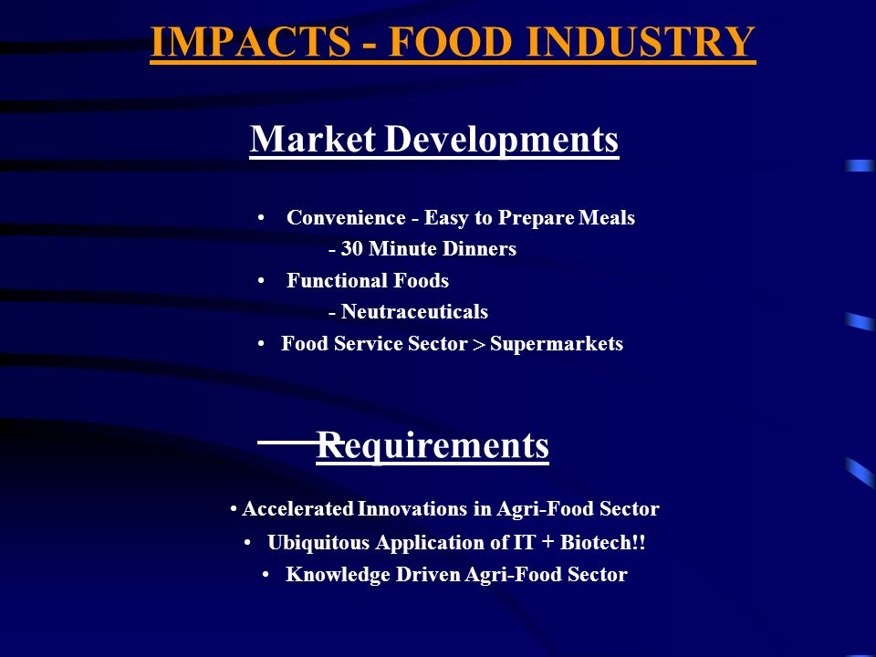 IMPACTS - FOOD INDUSTRY