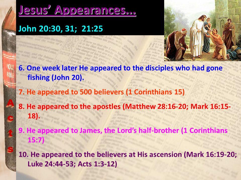 Jesus' Appearances... Acts John 20:30, 31; 21:25