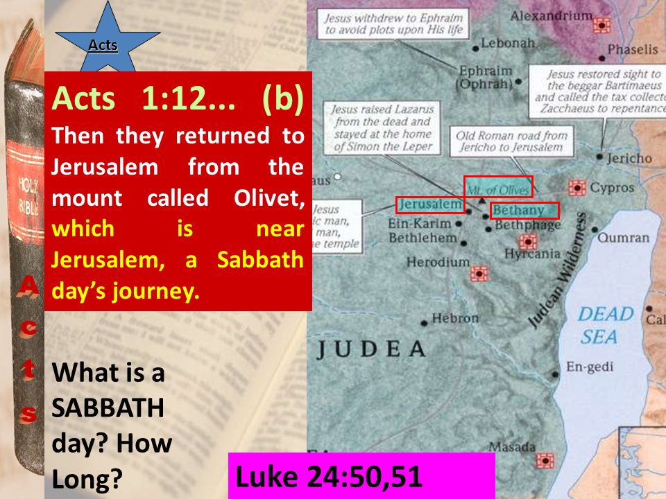 Acts Acts 1:12... (b) Then they returned to Jerusalem from the mount called Olivet, which is near Jerusalem, a Sabbath day's journey.