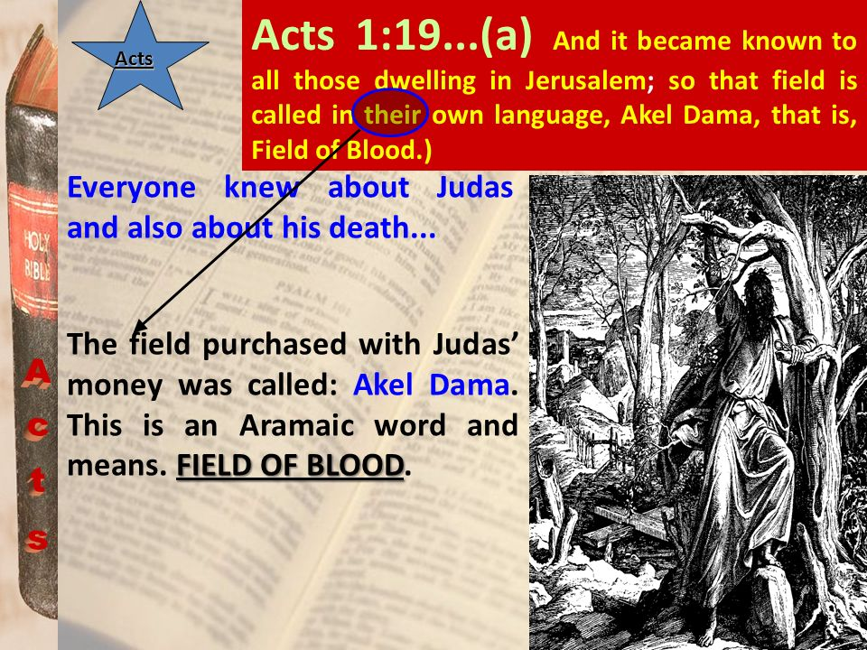 Acts 1:19...(a) And it became known to all those dwelling in Jerusalem; so that field is called in their own language, Akel Dama, that is, Field of Blood.)