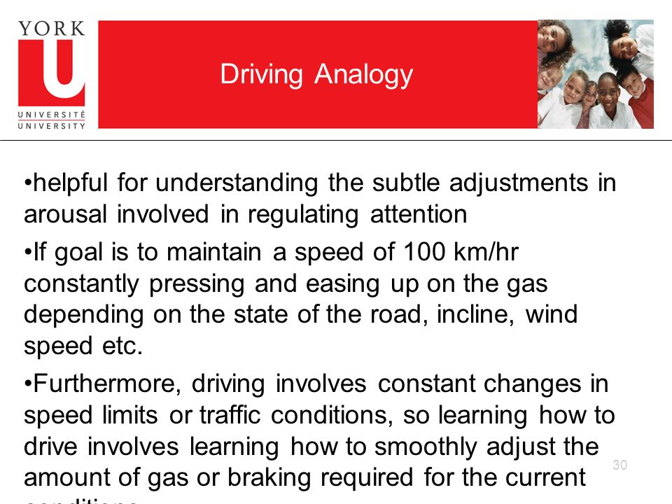 Driving Analogy helpful for understanding the subtle adjustments in arousal involved in regulating attention.