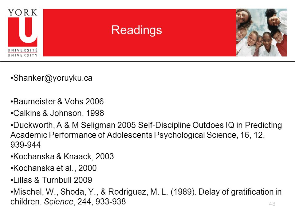 Readings Shanker@yoruyku.ca Baumeister & Vohs 2006