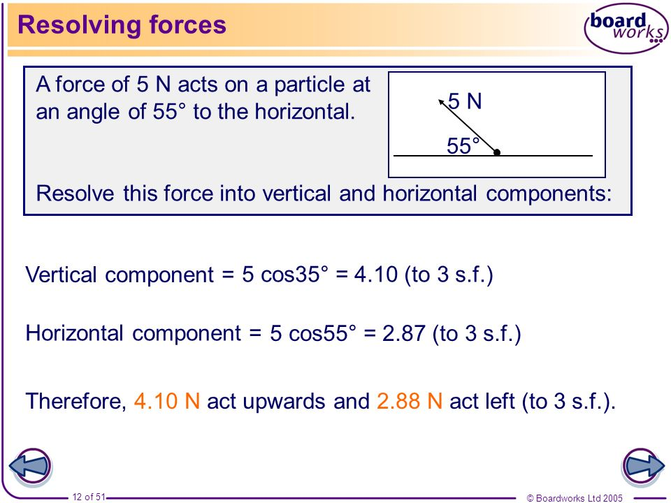 Resolving forcesA force of 5 N acts on a particle at an angle of 55° to the horizontal. 5 N. 55°