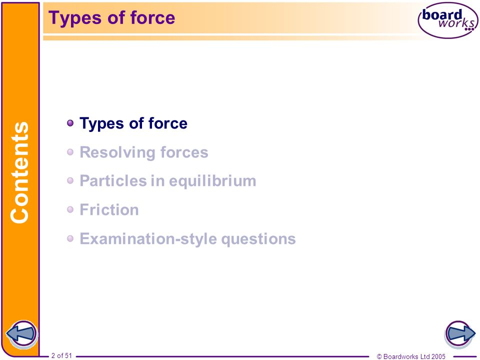 Contents Types of force Types of force Resolving forces