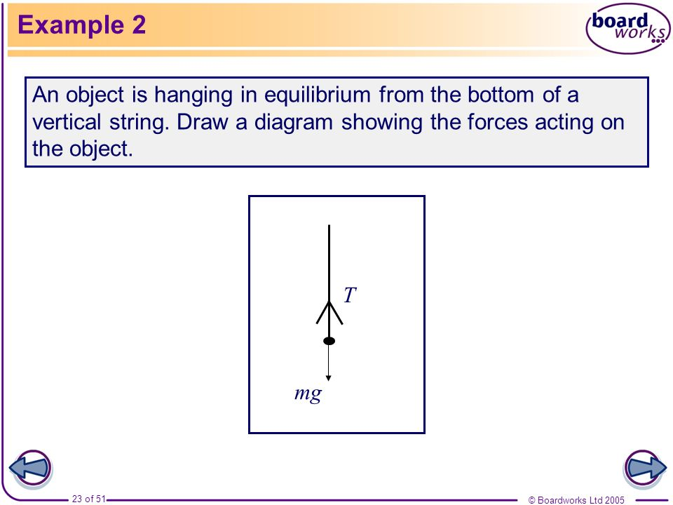Example 2An object is hanging in equilibrium from the bottom of a vertical string. Draw a diagram showing the forces acting on the object.