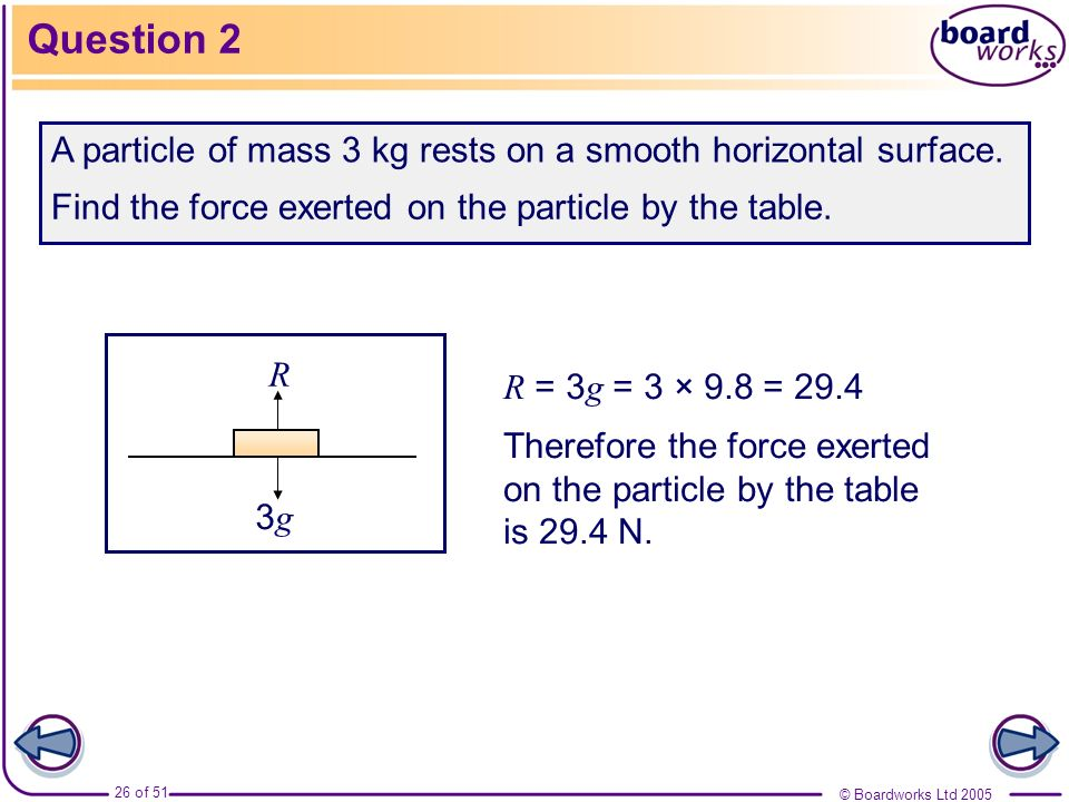 Question 2A particle of mass 3 kg rests on a smooth horizontal surface. Find the force exerted on the particle by the table.