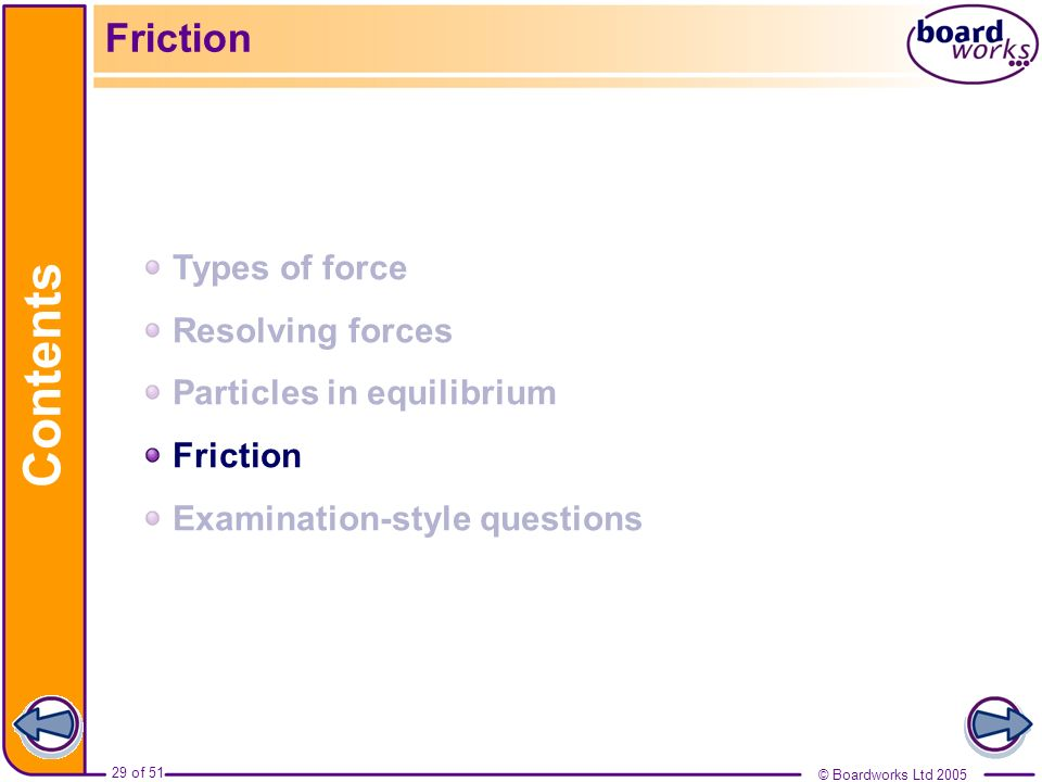 Contents Friction Types of force Resolving forces