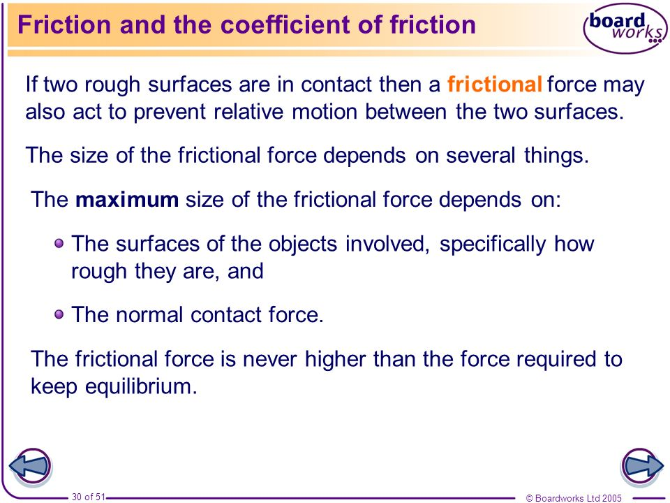 Friction and the coefficient of friction