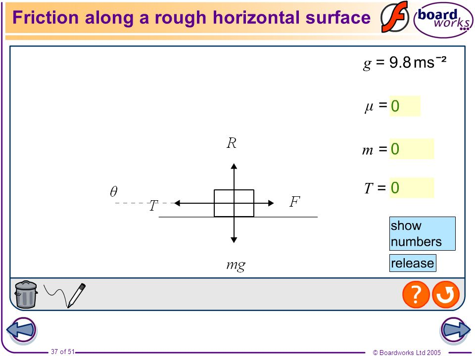 Friction along a rough horizontal surface