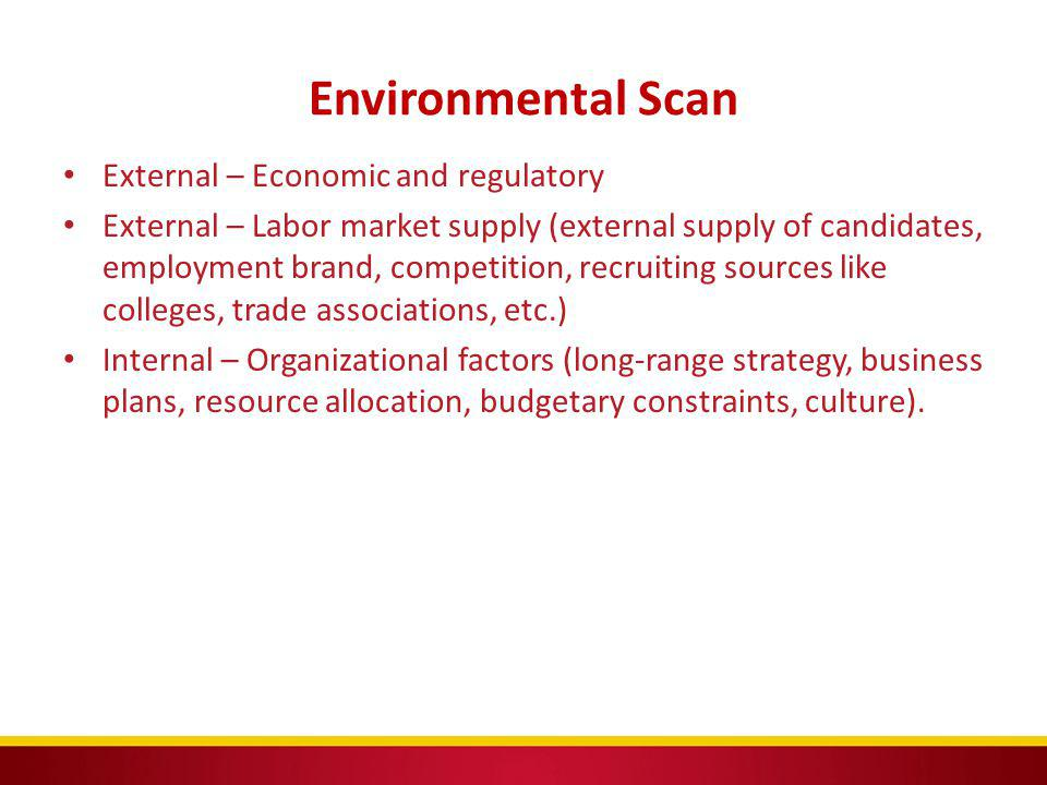 Environmental Scan External – Economic and regulatory
