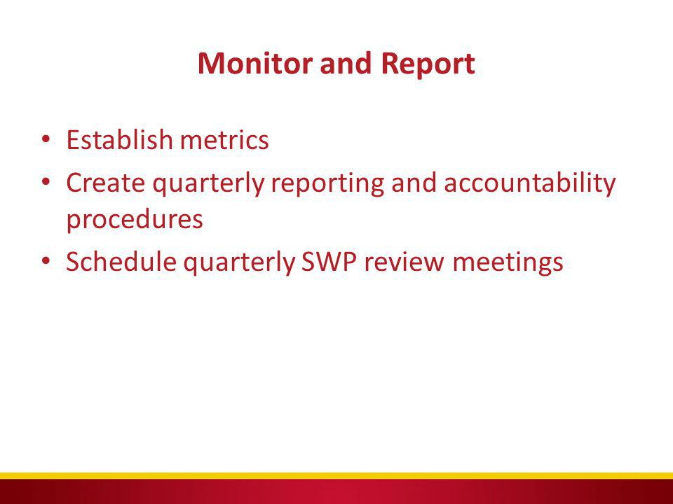 Monitor and Report Establish metrics