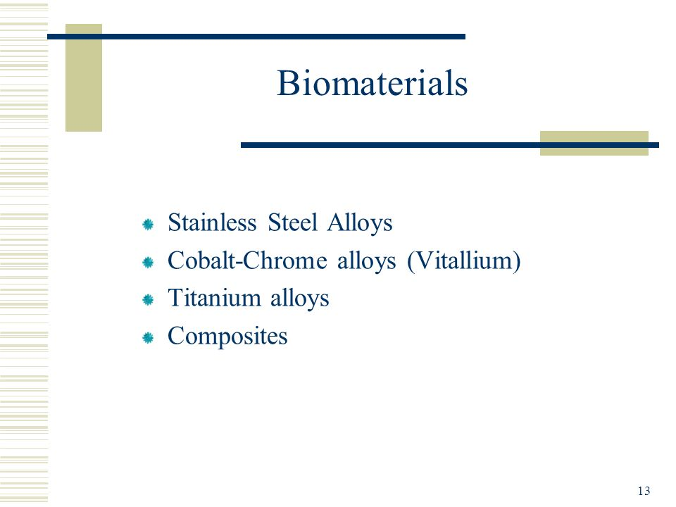 Biomaterials Stainless Steel Alloys Cobalt-Chrome alloys (Vitallium)