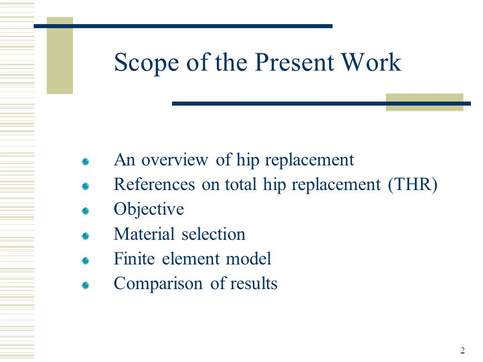 Scope of the Present Work