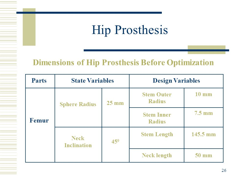 Dimensions of Hip Prosthesis Before Optimization