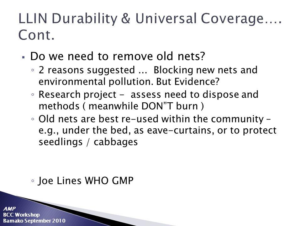 LLIN Durability & Universal Coverage…. Cont.