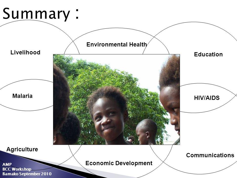 Summary : Environmental Health Livelihood Education Malaria HIV/AIDS