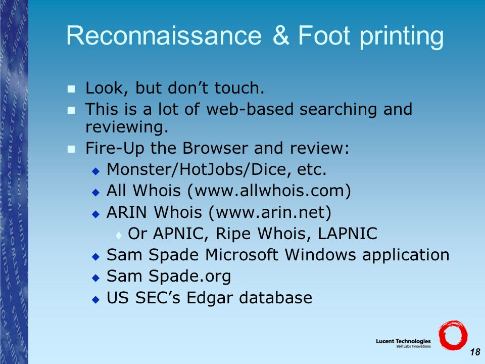 Reconnaissance & Foot printing