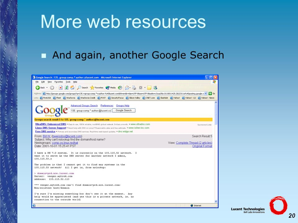 More web resources And again, another Google Search