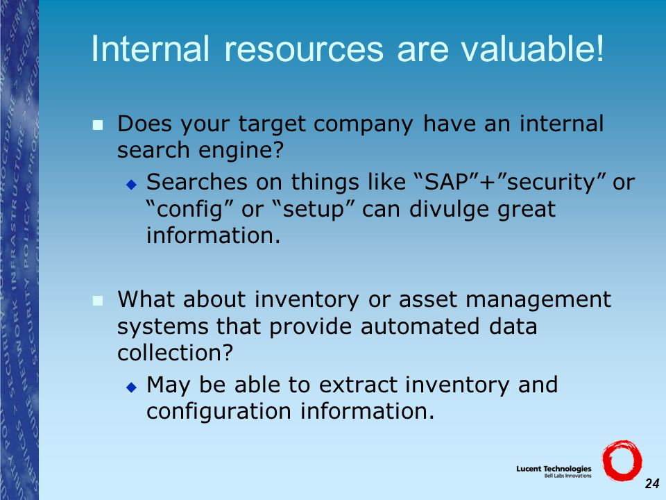 Internal resources are valuable!