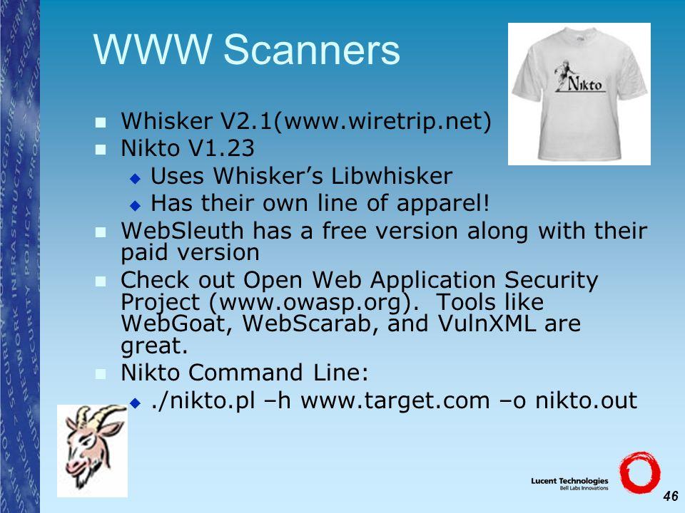 WWW Scanners Whisker V2.1(www.wiretrip.net) Nikto V1.23