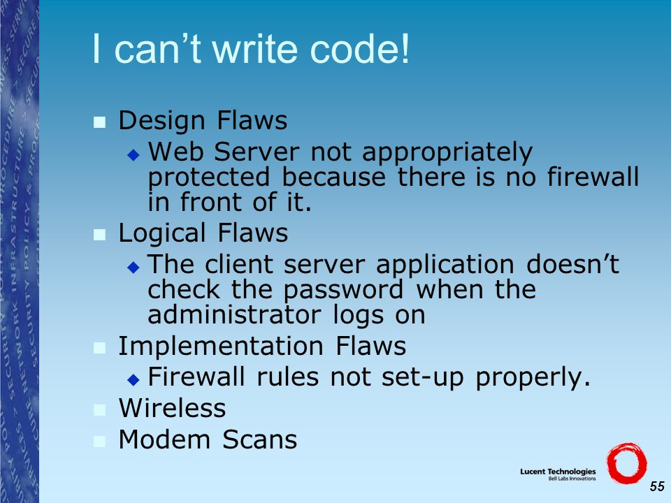 I can't write code! Design Flaws
