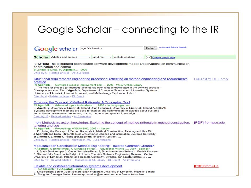 Google Scholar – connecting to the IR