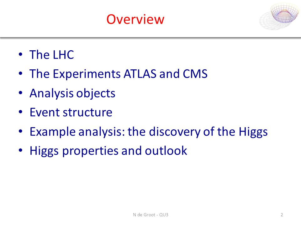 Overview The LHC The Experiments ATLAS and CMS Analysis objects