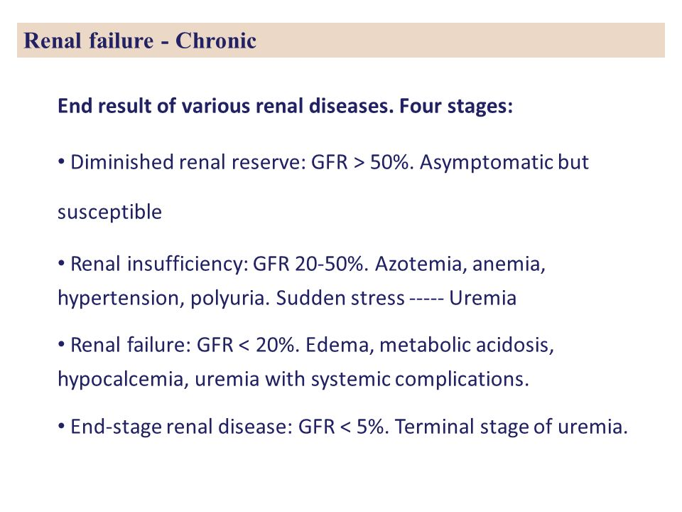 Renal failure - Chronic