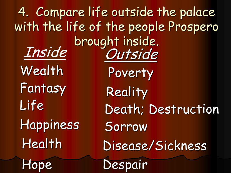Inside Outside Wealth Poverty Fantasy Reality Life Death; Destruction
