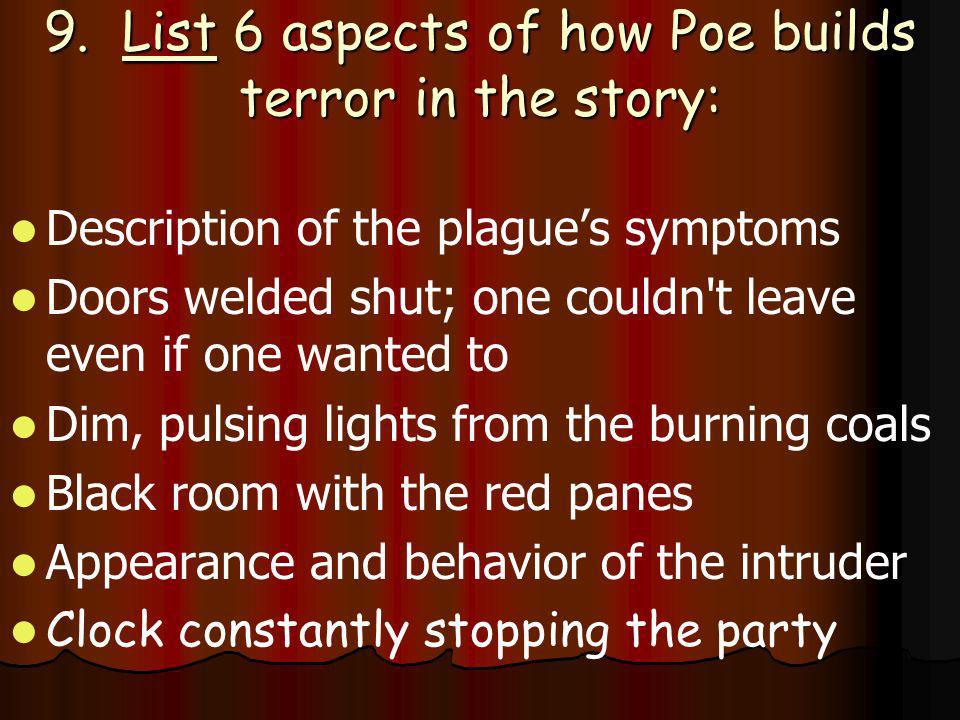 9. List 6 aspects of how Poe builds terror in the story: