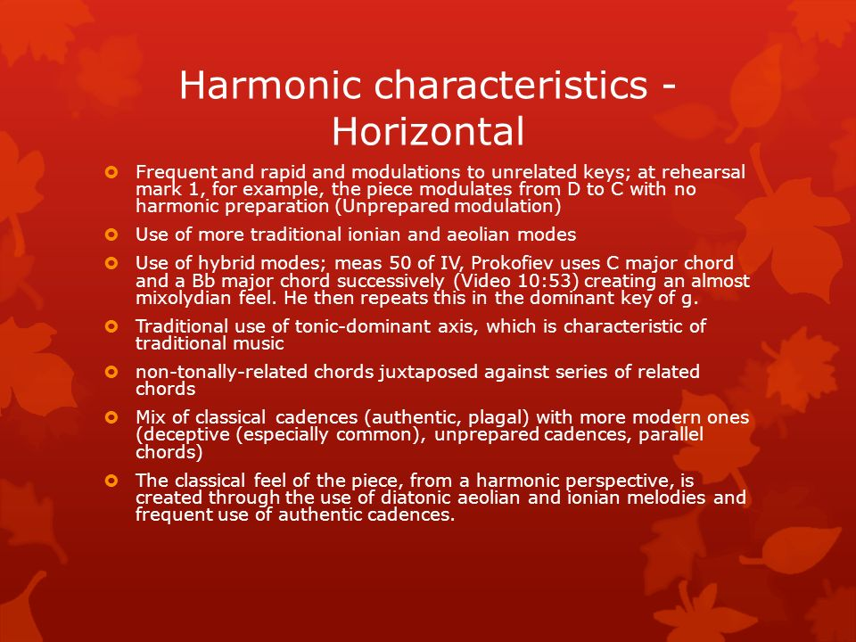 Harmonic characteristics - Horizontal