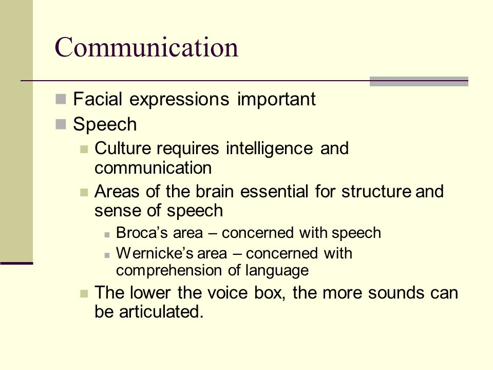 Communication Facial expressions important Speech