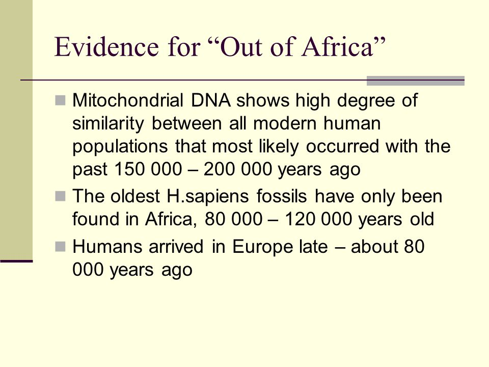 Evidence for Out of Africa