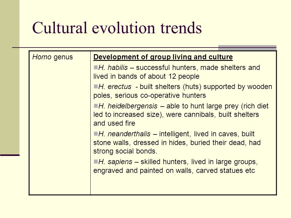 Cultural evolution trends