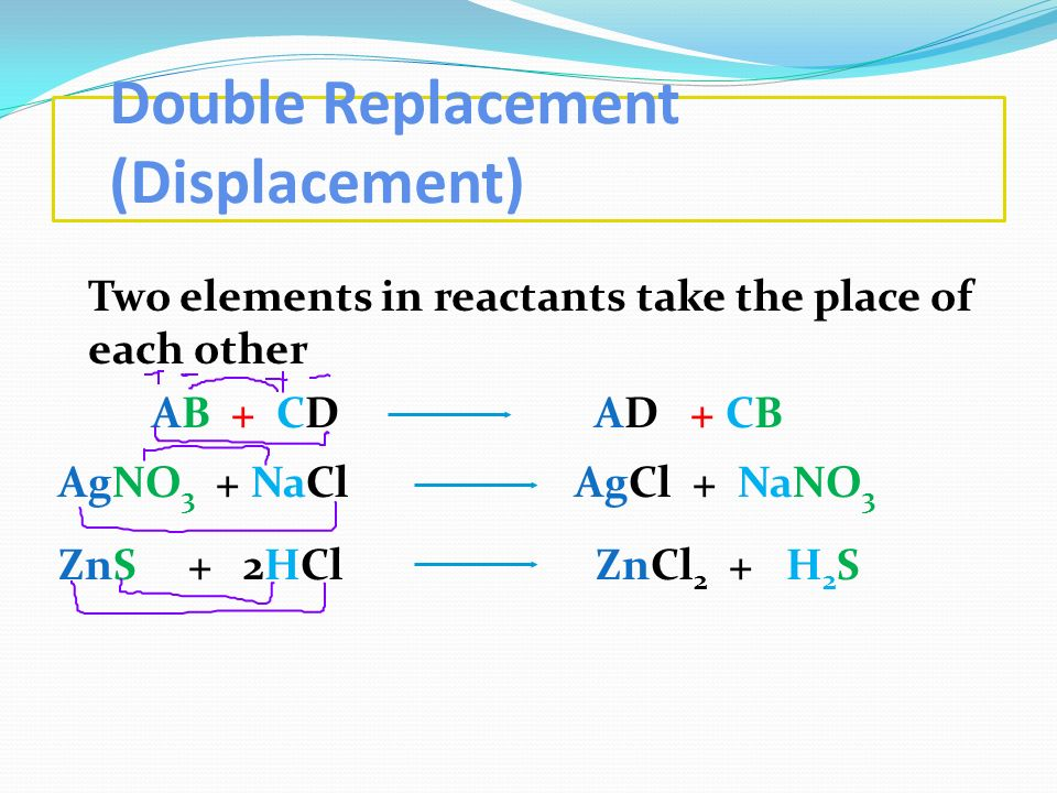 Double Replacement (Displacement)