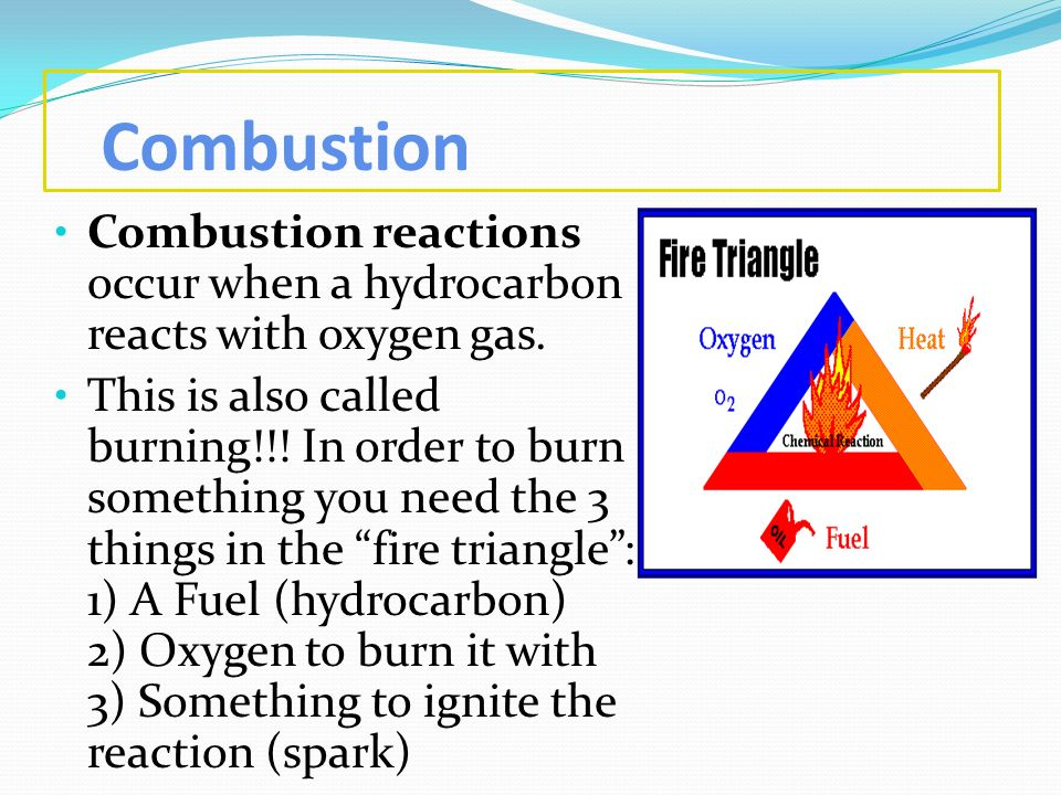 Combustion Combustion reactions occur when a hydrocarbon reacts with oxygen gas.